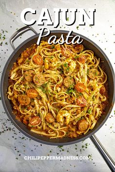 Cajun Pasta is loaded with smoked andouille sausage and shrimp! This dinner is easy to make any night of the week! Spicy Chicken Recipes, Pasta Recipes, Spicy Chili, Shrimp Pasta, Hot Sauce, Sausage, Food, Shrimp Paste, Spicy Salsa