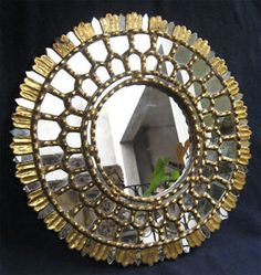 SUNBURST-ANTIQUE-COLONIAL-HAND-CARVED-GILT-WOOD-MIRROR-19th