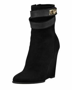 Suede Shark-Lock Wedge Ankle Boot by Givenchy at Bergdorf Goodman.