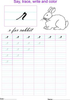 Cursive small letter r worksheet