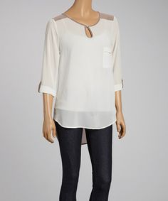 Ivory & Taupe Sheer Color Block Top - Women by Peridot #zulilyfinds Super cute
