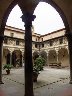 The Courtyard of Ospedale degli Innocenti by Filippo Brunelleschi (1424). Piazza Santissima Annunziata, Florence