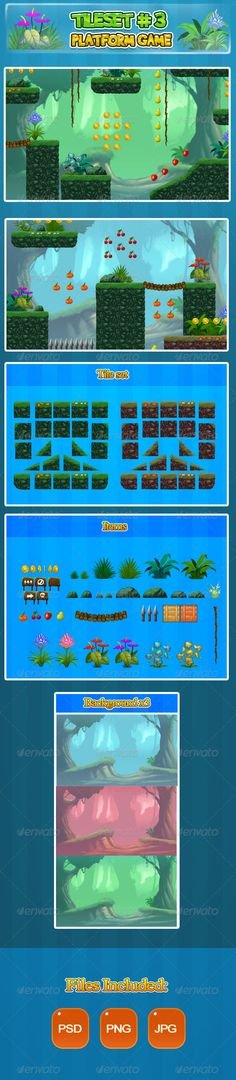 2D Tileset Platform Game 3 - Scenes Illustrations