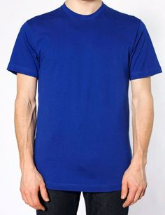 BLANK AMERICAN APPAREL 2001 MEN'S FINE JERSEY SHORT SLEEVE T-SHIRT - CHOICE OF 6 COLORS- 5 SIZES