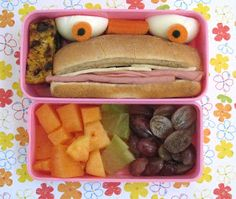 Monster Bento...place cut eggs above a sub sandwich to make eyes.