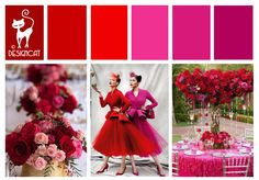 Red & Pink (Cerise) Wedding Inspiration Colour Board by Designcat