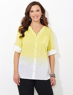 Rising Sun Shirt | Catherines Brighten up your wardrobe with our vibrant buttonfront. Dip-dye coloring saturates as it rises to the V-neckline. Complete with shimmering, rhinestone buttons and tabs at the short sleeves. Single front pocket. Catherines tops are perfectly proportioned for the plus size woman. #catherines #plussizefashion #springstyle