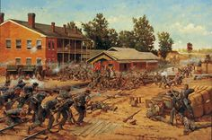 Decision at the Crossroads: Battle of Corinth.  Keith Rocco.  Corinth, October 4, 1862   On the morning of October 4, 1862, nearly 20,000 Confederates under Major General Earl Van Dorn launched a massive assault on Major General William S. Rosecrans' 20,00 Federal soldiers defending the interior line of Corinth's entrenchments.  Here the Federals converge on the Rebel breakthrough to contain & then throw it back.