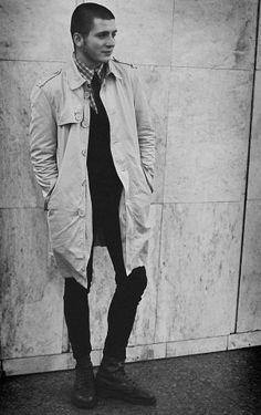 Skinhead wearing mac coat