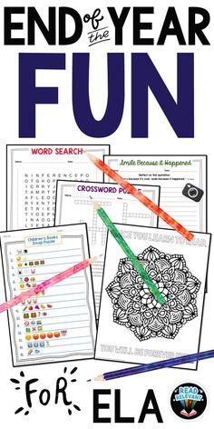 This download contains 10 fun activities for the end of the school year in your ELA class. There is much to color and keep hands busy with 20+ pages of printables including puzzles, games, and coloring pages all related to English Language Arts.