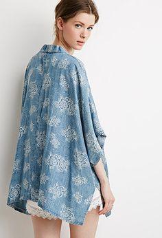 Floral Print Chambray Kimono   Forever 21 - 2000078519