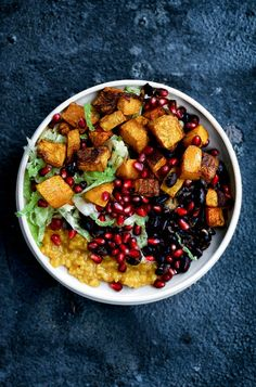 Eat Stop Eat - Autumn Nourish Bowl with Turmeric Rice, Roasted Butternut Squash, Mustard Cabbage Slaw, and Spicy Black Beans - In Just One Day This Simple Strategy Frees You From Complicated Diet Rules - And Eliminates Rebound Weight Gain Healthy Bowl, Fall Recipes, Dinner Recipes, Dinner Ideas, New Potato Salads, Vegetarian Recipes, Healthy Recipes, Healthy Meals, Vegan Meals