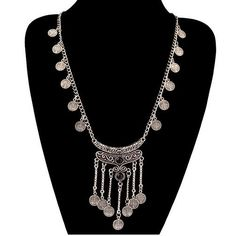 2016 Collar Necklaces Pendants Vintage Gypsy Bohemian Boho Jewelry Antique Silver Tassels Long Carving Coins Necklace For Women - Black