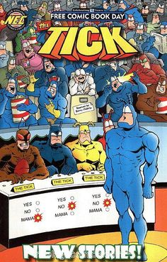 THIS SATURDAY (May The Tick brings us an ADV. cover parody for Free Comic Book Day! Get your FREE copy at your local participating comic book store!(thanks to Brian Fletcher) Free Comic Books, Comic Book Covers, Silver Age, Marvel Dc, Funny Pictures, Cartoons, Jokes, Adventure, Superhero