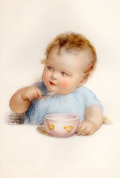 Bessie Pease Gutmann - Tommy Eats All His Porridge from His Little Pink Bowl with Hopes That His Wish will be Granted Poster Baby Images, Children Images, Baby Pictures, Gravure Illustration, Baby Illustration, Vintage Pictures, Vintage Images, Vintage Cards, Vintage Postcards