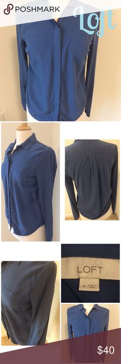 🎉Loft blue button down utility long sleeves 🎉29 and counting birthday sale! 40% off! Lowest price listed! 🎉NWOT Loft Blue button utility top with long sleeves..it is a mixed media top with the sleeves and 3/4 of the back in a knit material, the rest of the top is a silk like material that is very soft..bust is about 17 in , length is about 25 in..only worn to try on. ⚓️NO TRADES⚓️ LOFT Tops Button Down Shirts