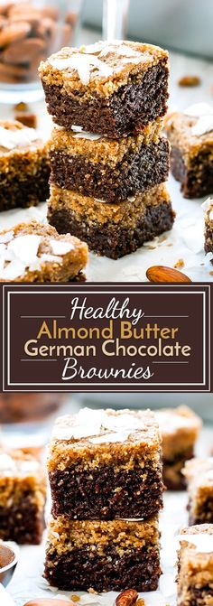 Healthy German chocolate bars with almond butter are gluten-free, vegan, dairy-free and soy-free. They make a wonderful no-bake chocolate dessert recipe! Brownie Desserts, Oreo Dessert, Mini Desserts, No Bake Chocolate Desserts, Coconut Dessert, Brownie Recipes, Chocolate Recipes, Dessert Bars, Vegan Chocolate