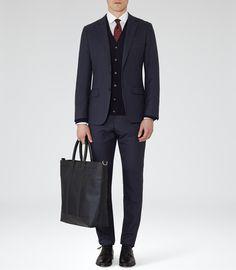 Reiss Roma Men's Navy/black Textured Tote Bag