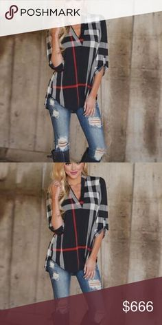 COMING SOON Sexy Plaid shirt! Looks great for this time of year with some jeans and boots! Comfortable and loose fitting and can definitely make a pair of ripped jeans pop! Tops Blouses