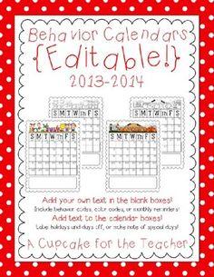 behavior calendars {editable!} 2013-2014. u[dated yearly for free.