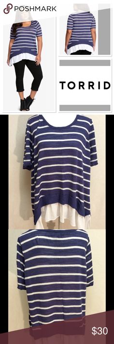 """3X TORRID navy & white striped ruffle hem sweater Brand: torrid  Style: short sleeve sweater with ruffle hem Size: 3X Measurements: pit to pit 23.5"""" shoulder to hem 27""""  Material: body: 59% rayon 41% polyester trim: 100% polyester Features: sheer ruffle hem, nautical blue/white stripes Condition: vguc, some minor thread pulls that aren't noticeable until you search for them torrid Sweaters"""