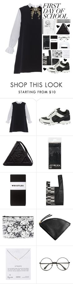 """""""🏫🖤."""" by parkmona ❤ liked on Polyvore featuring Chanel, UNIF, Whistles, McQ by Alexander McQueen, Skagen and Dogeared"""