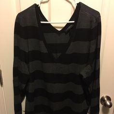 Double V Black & Grey Striped Sweater NWT. Never been worn. Lane Bryant double V neck knit sweater. Size 22/24 Lane Bryant Sweaters V-Necks