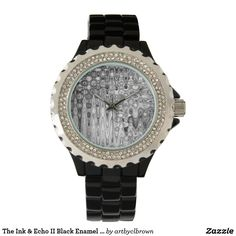 The Ink & Echo II Black Enamel Rhinestone Watch designed by Artist C.L. Brown features an abstract kinetic light painting edited for design and converted to black and white. Own a unique timepiece for yourself! Watch is 3-hand analog Japan Quartz® with a Trifold foldover clasp closure and comes with a battery. Water resistant up to 3 ATM (98.4 ft) and has a 1 year manufacturers limited warranty. Get your own artist designed watch today!