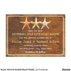 Rustic Wood & Starfish Beach Wedding Save The Date