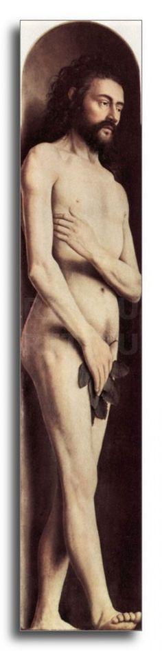 JAN VAN EYCK, pittore. Adamo, nel scomparto interno del polittico di Gand databile 1426-1432 ca, olio su tavola. Di dimensioni 204,3 x 33,20 cm, conservato nella cattedrale di San Bavone, Gand.