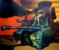 César Menéndez| 1954-| Salvadoran Testimonial del Tiempo|1991| Óleo|Collection OAS Art Museum of the Americas