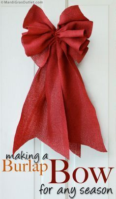 ".How to make a Burlap Bow with 10"" Ribbon°°"