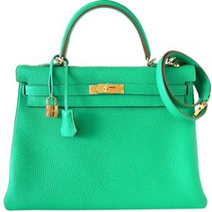 Pre-owned HERMES KELLY 35 bag fresh Menthe green gold hardware ($25,500) ❤ liked on Polyvore featuring bags, handbags, hermes, purses, handbags and purses, hermes kelly bags, top handle bags, handle bag, preowned handbags and green bags