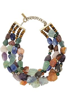 four strand mixed gemstone necklace