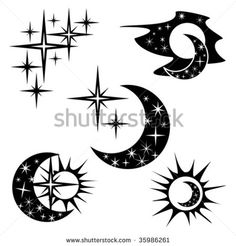 sun moon and stars symbol | sun, moon and stars, (day and night) - stock vector