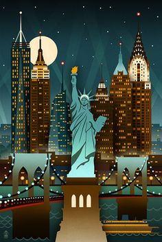 New York City, New York - Retro Skyline (no text) - Lantern Press Poster