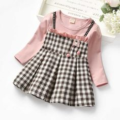 PatPat Spring and Autumn Baby Toddler Faux-two Pompon Decor Plaid Dress Baby Toddler Girl One Pieces Rompers Bodysuits Cute Baby Dresses, Dresses Kids Girl, Kids Outfits, Dress Girl, Baby Dress Design, Frock Design, Toddler Dress, Toddler Girl, Baby Frocks Designs