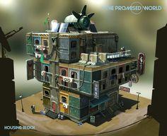 Colony housing block concept, Oscar Linder on ArtStation at https://www.artstation.com/artwork/OENNK