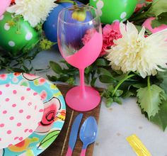 Painted Wine Glasses and Cutlery DIY
