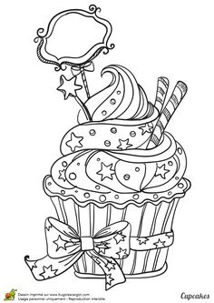 Cupcake Coloring Pages Printable Ideas - this time we shared some sample cupcake coloring pictures. Cupcake Coloring Pages, Food Coloring Pages, Coloring Pages To Print, Printable Coloring, Free Coloring, Adult Coloring Pages, Coloring Sheets, Coloring Books, Cupcake Drawing