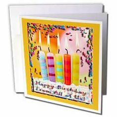 Beverly Turner Birthday Design - Confetti and Candles Happy Birthday From All of Us Orange - Greeting Cards-6 Greeting Cards with envelopes by Beverly Turner Photography. $10.49. Confetti and Candles Happy Birthday From All of Us Orange Greeting Card is measuring 5.5w x 5.5h. Greeting Cards are sold in sets of 6 or 12. Give these fun cards to your friends and family as gift cards, thank you notes, invitations or for any other occasion. Greeting Cards are blank ...