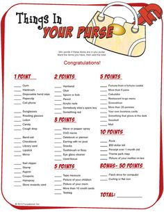 Things In Your Purse    http://www.printablegamesatoz.com/#
