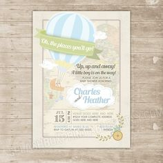 Hot Air Balloon Baby Shower Invitation - Oh the Places You'll Go Co-ed couple shower invitation - Up up and away Invite Printable baby boy