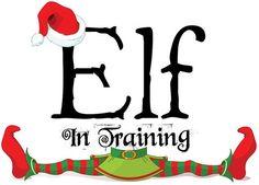 CHRISTMAS ELF IN TRAINING CLIP ART