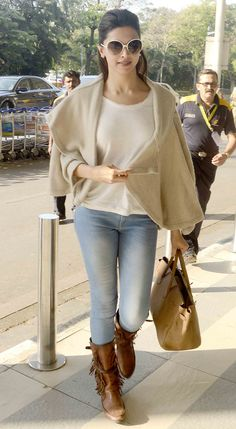 Deepika Padukone at the Mumbai airport. #Bollywood #Fashion #Style #Beauty