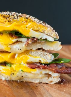 Everything Bagel Grilled Cheese Breakfast Sandwich :: I could eat this for breakfast every day!!!