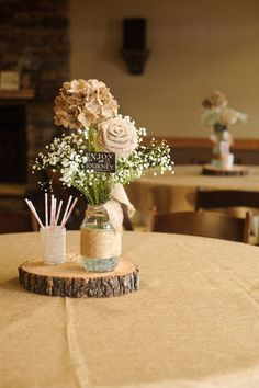 Rustic wedding table settlings