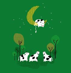 Happy cows at night
