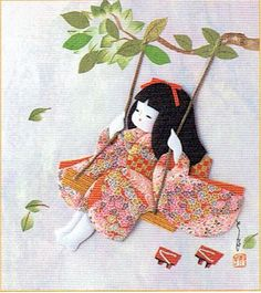 Japanese Kurumi-e Fabric (Warabe-Japanese Girls Series) - Swing in the wind - Best Japan