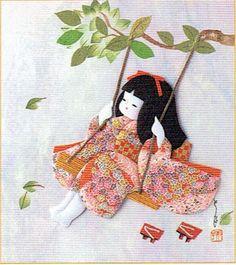 Japanese Kurumi-e Fabric (Warabe-Japanese Girls Series) - Swing in the wind - Best Japan
